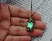 Glow In The Dark Necklace Glow Fairy Vial Jewelry Green Glow In The Dark Pendant Glow Necklace Green Glow In The Dark Jewelry Glow Gift Vial