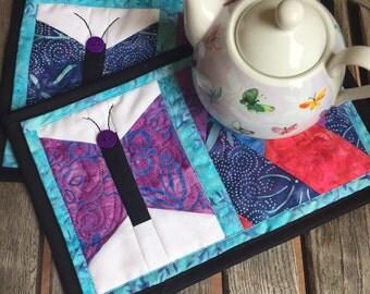 Clearance Batik Butterfly Mug Rug | Friendship Braid Mug Rug | 6.5 x 10 Mug Rug | candle mat | snack mat | purple mug rug