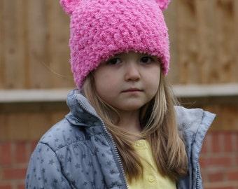 Girls Hat, Crochet Beanie Hat with Ears, Kids Bear Hat, Toddler Girl Hat, Pink Hat for Girl, Children Accessories, Girls Fashion