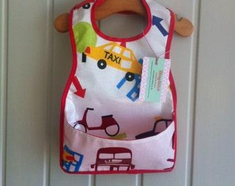 Baby bib - Wipe clean pocket style boys bib with adjustable velcro neck fastening