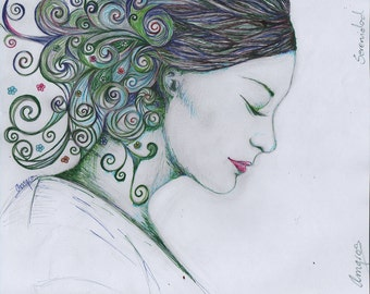 """SERENITY - Original drawing - Drawing - 24 x 21 cm / 9.4 """"x 8, 3 ' in - Amgros art"""