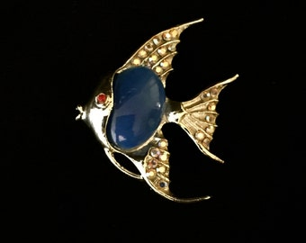 60's Blue Angelfish Brooch                            VG1164