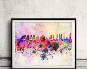 Tokyo skyline in watercolor background 8x10 in. to 12x16 in. Poster Digital Wall art Illustration Print Art Decorative  - SKU 0019