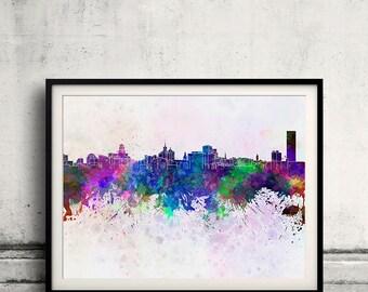 Buffalo skyline in watercolor background 8x10 in to 12x16 Poster Digital Wall art Illustration Print Art Decorative  - SKU 0196