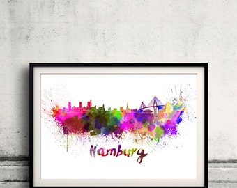 Hamburg skyline in watercolor over white background with name of city 8x10 in. to 12x16 in. Poster Wall art Illustration Print  - SKU 0291
