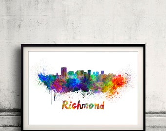 Richmond skyline in watercolor over white background with name of city 8x10 in. to 12x16 in. Poster Wall art Illustration Print  - SKU 0366