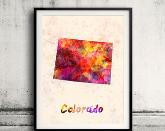 Colorado US State in watercolor background 8x10 in. to 12x16 in. Poster Digital Wall art Illustration Print Art Decorative  - SKU 0394