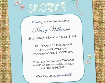 Garden Party DIY Baby Shower Invitation - Boy Girl Neutral  - PDF - Instant Download