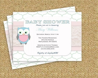 Owl Boy or Girl DIY Baby Shower Invitation- Word Document - Instant Download