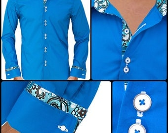 Men's Blue Hawaiian Style Designer Dress Shirt - Made To Order in USA