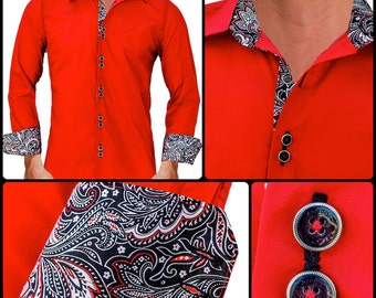 Bright Red w/ Black Paisley Men's Designer Dress Shirt - Made To Order in USA