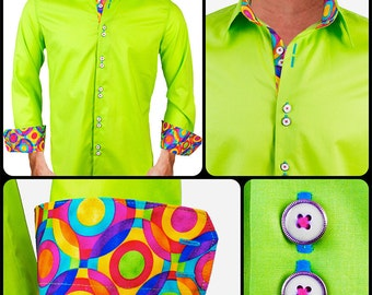 Lime Green with Multi Colored Accent Men's Designer Dress Shirt - Made To Order in USA
