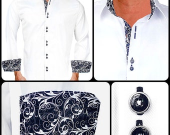 White with Black Paisley Men's Designer Dress Shirt - Made To Order in USA