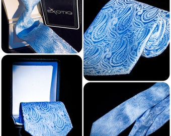 Blue Paisley Italian Microfiber Tie in Faux Leather Box