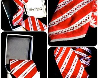 Red Rhinestone Italian Silk Tie in Faux Leather Box