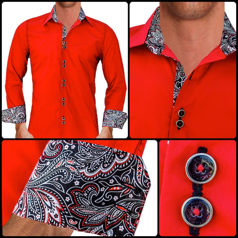 Bright Red W Black Paisley Men 39 S Designer Dress Shirt