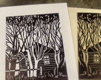 Village Original Linocut Relief Print
