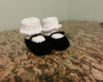 Black and white Mary Jane style baby booties