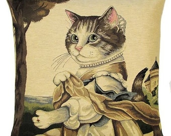 Susan Herbert tapestry cushion gobelin throw pillow cover Lady Guinevere cat portrait jacquard woven in Belgium - PC-5169