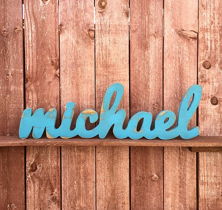 Large Wood Sign Michael Custom Wooden Name Sign Cursive