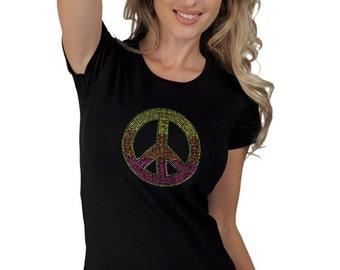 Women's Blacklight UV Reactive Bright Neon Studded Peace Sign Raver T-Shirt Tee