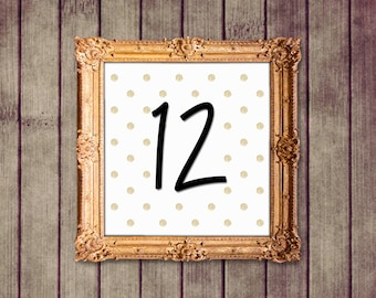 Gold Polka Dot Glitter Wedding Table Numbers Signs 1-25