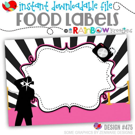 FOODLABL 475: DIY - Hollywood Pink Carpet Food Labels - Instant Downloadable File