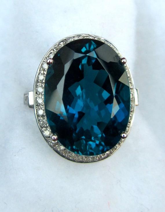 London Blue Topaz Amp Diamond Ring 14k White Gold Vintage