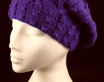 Hand knitted purple cabled beret tam / slouchy hat in Violet. Purple beret. Handknit hat. Warm woolly hat. Womens hat. Gift for her