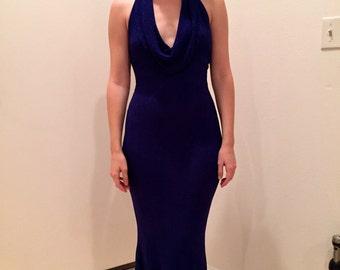 Blue Bari Jay halter gown