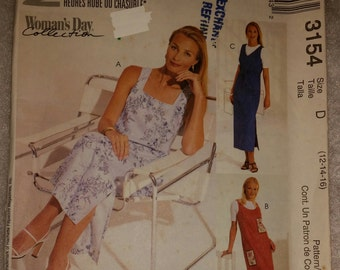 McCall's 3154 Women's Day Collection Misses'/Petite Dress or Jumper.  Size 12-14-16