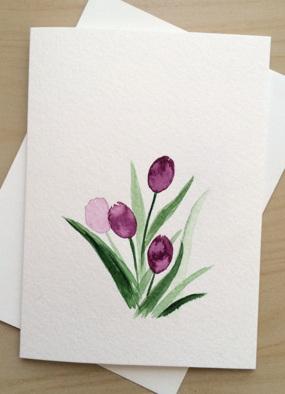 Hand painted greeting card 5x7purple tulips blank card for Painted christmas cards