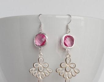 Pink earrings Emerald earrings Wedding earrings Bridal gift Pink glass earrings Gifts for her Chandelier earrings Mothers day gift for Women