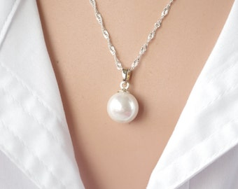 White  Pearl Necklace Drop Freshwater Pearl Necklace Sterling Silver Necklace Bridesmaid Necklace