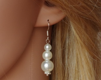 Ivory Pearl Earrings Bridesmaid Earrings Bridesmaid Gift Pearl Earrings Pearl Drop Earrings Bridal Earrings Wedding Jewelry Christmas Gift