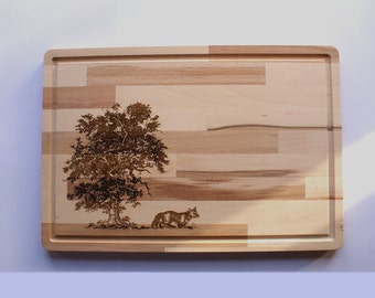 Wooden Cutting Board, Fox Engraving, Wildlife Collection