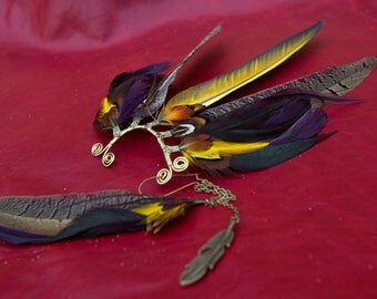 Exquisite ear-wing - incredibly striking mix of natural toned pheasant feathers with highlights of yellow, red and purple *AZALEA*