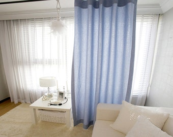 Blue Linen Cotton Blend Decorative Drapery Curtain