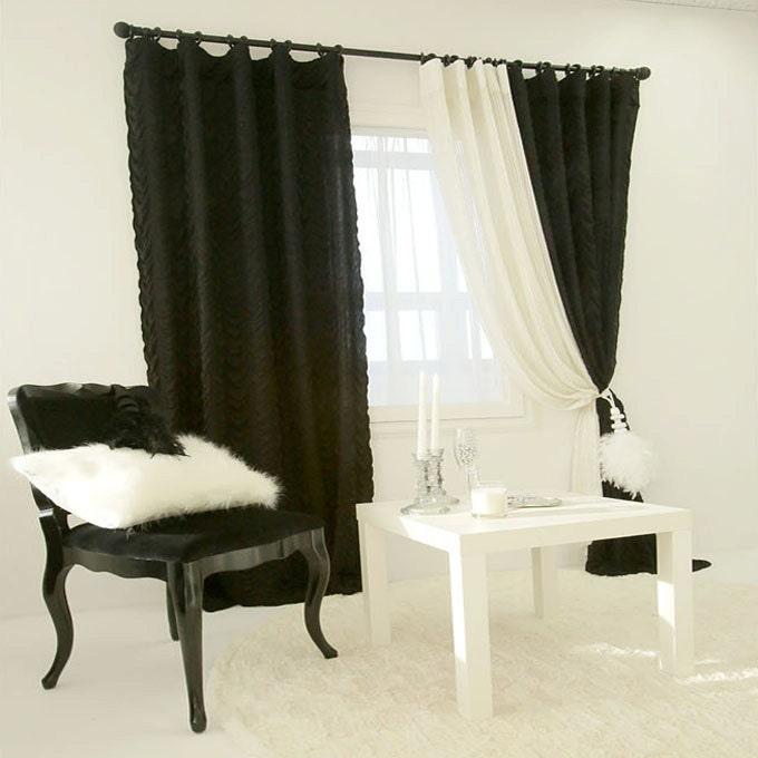 Black Romantic Pleated Drapery Curtain Shirring Drapery Panel