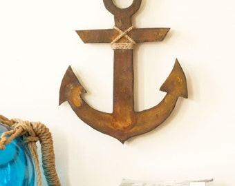 ANCHOR Rusty Wood Rustic Wall Art Decor House Warming