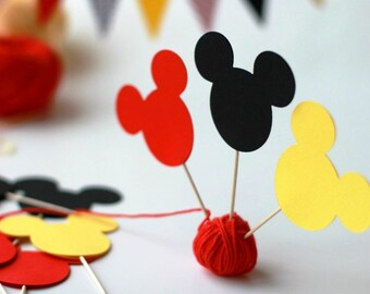 Mickey and Minnie Mouse cupcake toppers first birthday party decorations Mickey cupcake piks Minnie cupcake cards sign cupcake accessories