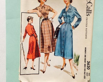 McCall's pattern 3620, 1956, women's and misses dress for half sizes.  Size 18 1/2.  Bust 39.