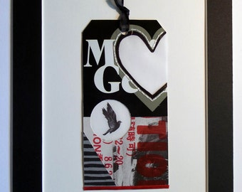 Original Mixed Media Collage Art matted to 8x10