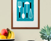 Kitchen utensils - Scuba Blue 8x10 Poster, Printable Art, Instant Download, Retro Kitchen Art, Scandinavian Print, Mid Century Modern