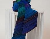 "Pure Wool ""Diagonal Lines"" Knit Scarf Handmade Her Women Men Him Unique Accessories New Unused Original Blue Purple Green Scarves"