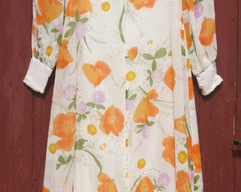 1970s Floral Maxi dress Orange on white Empire Line