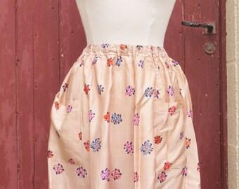 Stunning 1970s floral silk skirt