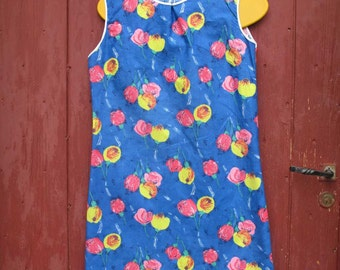 Lovely 1960 s day dress Vivid neon floral French vintage