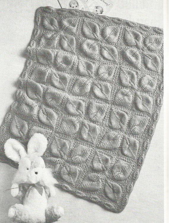Vintage Leaf Knitting Pattern : Vintage Leaf Motif Baby Blanket Pram Cover Knitting PDF