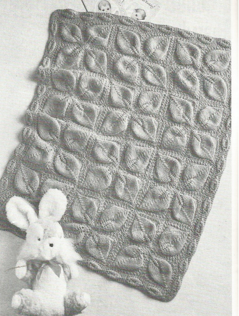 Knitting Patterns Baby Motifs : Vintage Leaf Motif Baby Blanket Pram Cover Knitting PDF